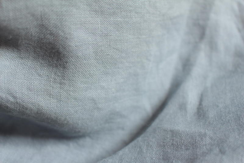 Tissu lin au mètre bleu gris Maison Normande Home Decor