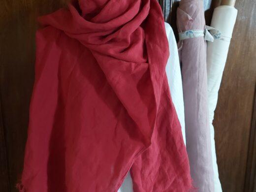 écharpe en lin rouge MN Home Decor