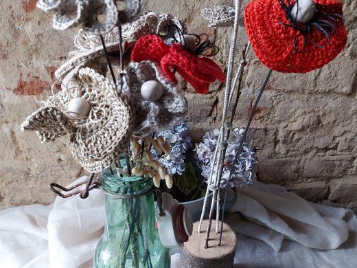 Fleurs en fil de lin