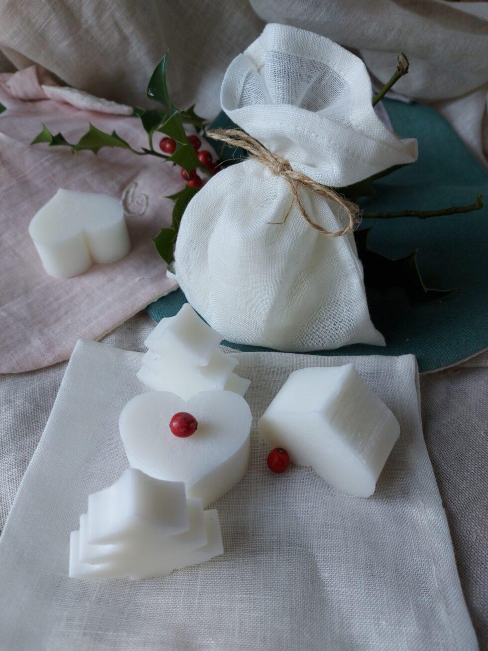 pochon en lin de petits savons artisanaux @ maisonnormande.boutique