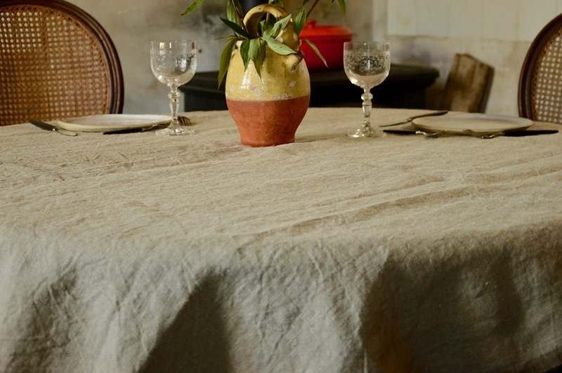nappe carrée en lin maison normande home decor