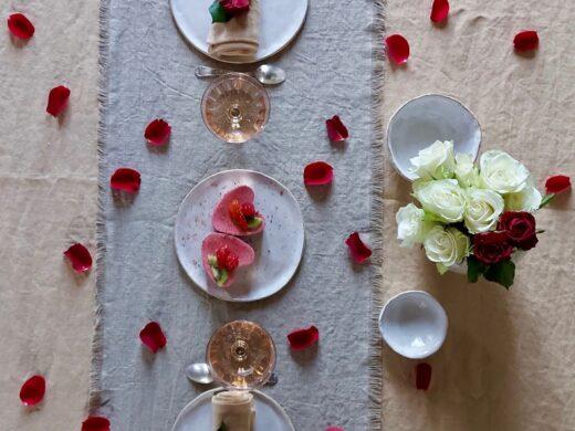 chemin de table en lin fait main Collection Chaume