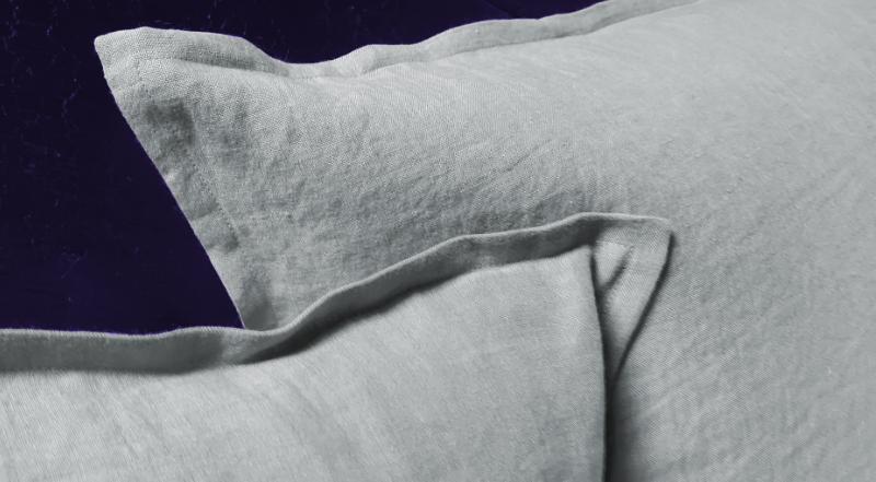 taie oreiller lin gris clair Maison Normande Home Decor