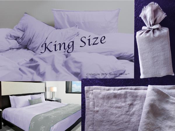 Parure de lit King size en lin lavande MN Home Decor®