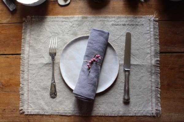set de table en lin Naturel MN Home Decor®