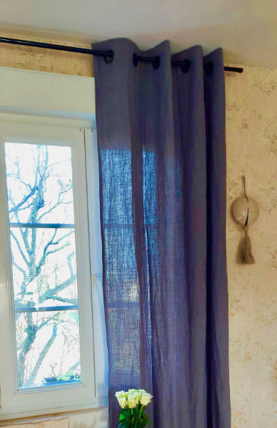 Rideau en lin gris prêt à poser MN Home Decor®
